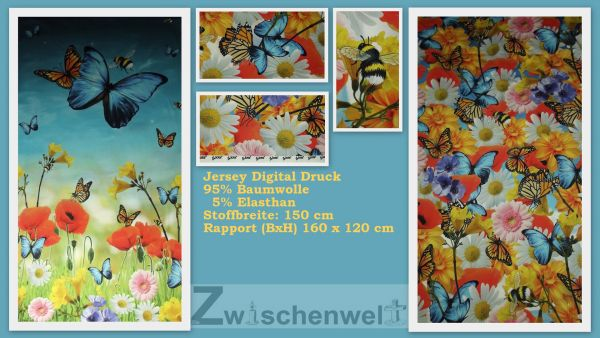 Jersey Digital Druck Schmetterling (Panel) by Lots